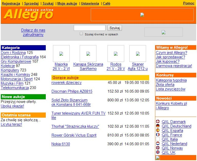 Serwis Allegro w 2000 roku