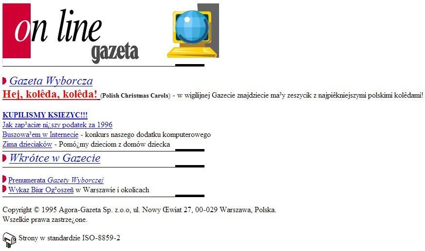 Tak wyglądała Gazeta.pl w 1996 roku
