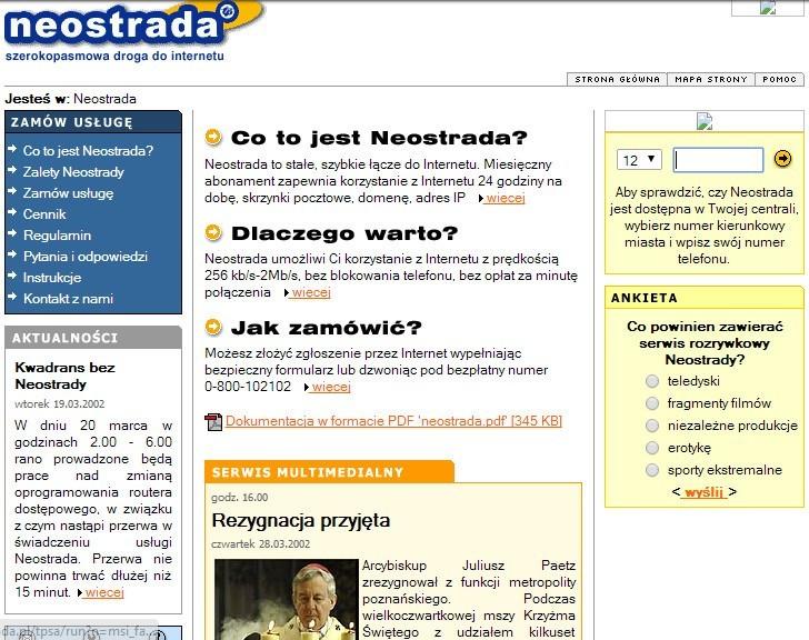 Czołowy dostawca internetu w 2002 roku