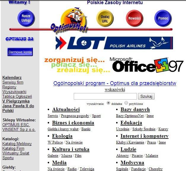 Optimusnet znany dzisiaj jako Onet.pl. Rok 1997.